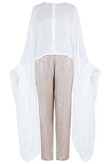 White Shirt with Sequins Pants by Deme by Gabriella
