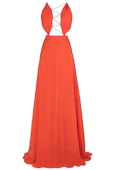 Orange Tie Up Gown by Deme by Gabriella