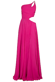 Fuschia Pink One Shouldered Gown by Deme by Gabriella
