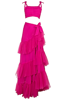 Fuschia Pink Pleated Top With Wrap Skirt by Deme by Gabriella