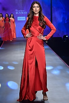 Red High Neck Cut Drape Gown by Deme by Gabriella