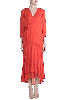 Coral Red Wrap Dress by Deme by Gabriella