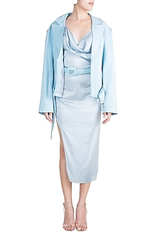 Baby Blue Slip Dress With Leather Jacket & Belt by Deme by Gabriella