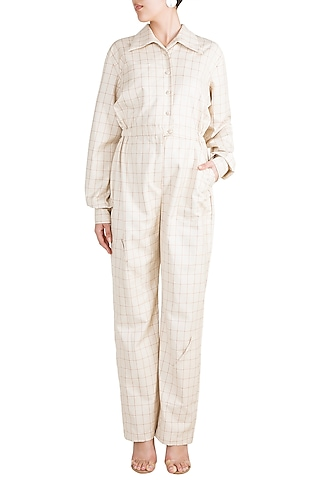 Off White Checkered Oversized Jumpsuit by Deme by Gabriella