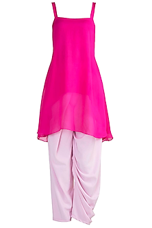 Pink Oversized Top With Baby Pink Pants by Deme by Gabriella