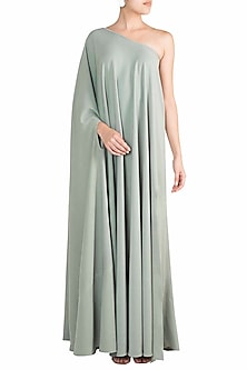 Teal One Shoulder Gown by Deme by Gabriella