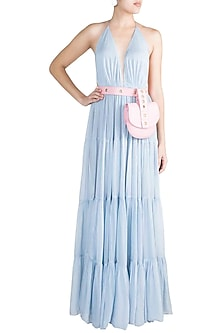 Baby Blue Tiered Halter Gown With Pink Leather Bag by Deme by Gabriella