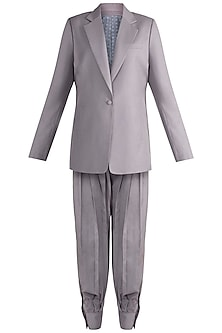 Grey Oversized Pant Suit Set by Deme by Gabriella