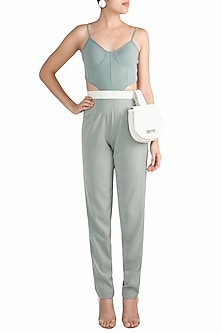 Teal Corset Cut Out Jumpsuit With White Leather Bag by Deme by Gabriella