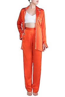 Orange Silk Satin Pajama Set by Deme by Gabriella
