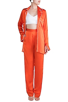 Orange Silk Satin Pajama Set by Deme by Gabriella