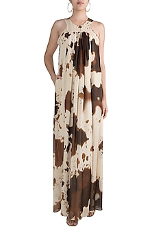 Ivory Printed Gown by Deme by Gabriella