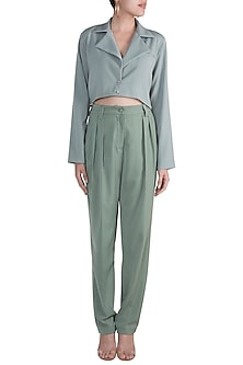 Teal Cropped Shirt With Pants by Deme by Gabriella