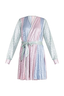 Multi Colored Sequins Wrap Dress by Deme by Gabriella