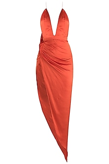 Orange Satin Dress With Rust Turban by Deme by Gabriella