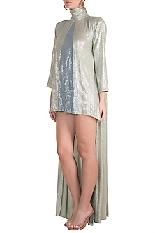 Silver High-Low Sequins Mini Dress by Deme by Gabriella