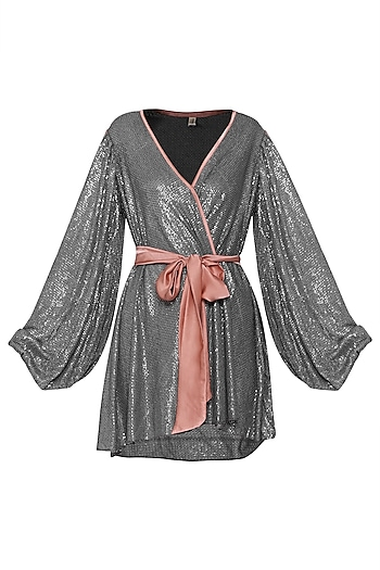 Grey Sequins Wrap Around Dress by Deme by Gabriella