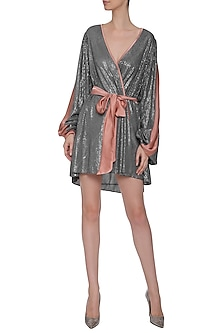 Grey Sequins Wrap Around Dress by Deme by Gabriella