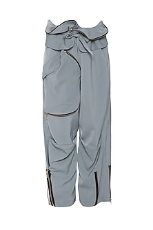 Grey Zip Pants by Deme by Gabriella