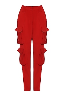 Red Pocket Pants by Deme by Gabriella