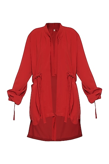 Red Trench Coat with Knots by Deme by Gabriella