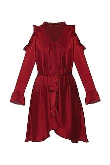 Red Flare Belt Dress by Deme by Gabriella