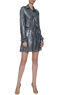 Navy Blue Sequins Shirt Dress by Deme by Gabriella
