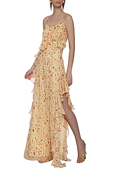 Yellow Floral Print Asymmetrical Gown by Deme by Gabriella