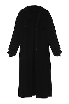 Black Gathered Sleeves Trench Coat by Deme by Gabriella