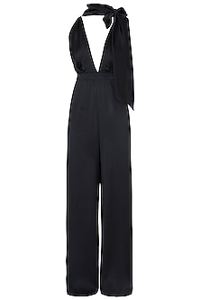 Black satin jumpsuit by DEME BY GABRIELLA