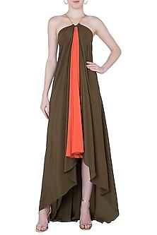 Olive and orange maxi dress by DEME BY GABRIELLA