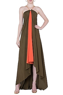 Olive and orange maxi dress by DEME BY GABRIELLA