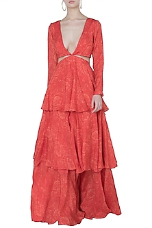 Orange printed ruffle gown by DEME BY GABRIELLA