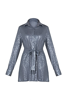 Grey sequins shirt dress by DEME BY GABRIELLA