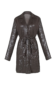 Olive blazer style sequins shirt dress by DEME BY GABRIELLA