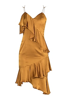 Gold asymmetrical ruffle dress by Deme by Gabriella