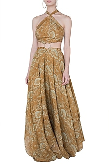 MUSTARD PRINTED RING DRESS by DEME BY GABRIELLA