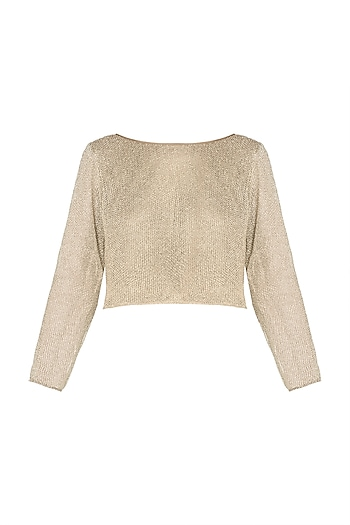 Gold Mesh Crop Top by Deme by Gabriella