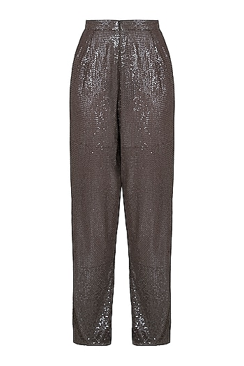 Olive sequins jogger pants by DEME BY GABRIELLA