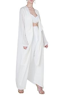 White chiffon cape by DEME BY GABRIELLA