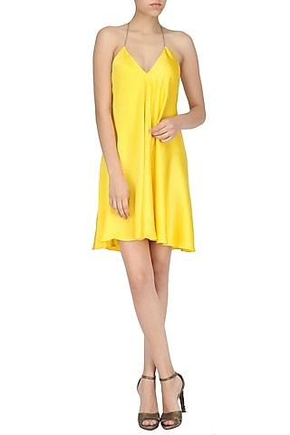 Yellow A-Line Backless Dress by Deme by Gabriella