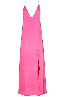 Pink A-Line Slit Dress by Deme by Gabriella