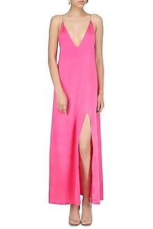 Pink A-Line Slit Dress by Deme by Gabriella