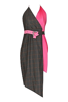 Pink and Brown Checkered Dress by Deme by Gabriella