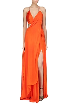 Orange Drape Maxi by Deme by Gabriella