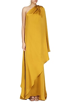 Mustard One Shoulder Maxi Dress by Deme by Gabriella