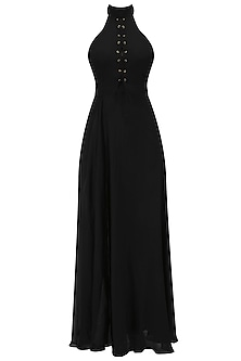 Black Front Laced Up High Slit Gown by Deme by Gabriella
