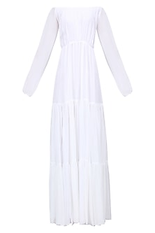 White Front Slit off Shoulder Dress by Deme by Gabriella