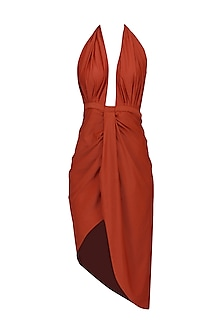 Red Plunge Neck Salmon Dress by Deme by Gabriella