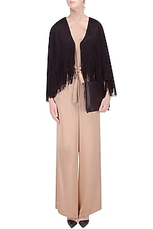 Black Tassel Fringes Front Open Short Cape by Deme by Gabriella